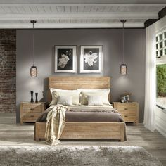 Grain Wood Furniture Montauk Solid Wood Driftwood Finish Full Panel Bed (Driftwood Finish), Ivory Cream