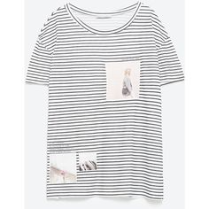 Zara Photo Print Striped T-Shirt ($20) ❤ liked on Polyvore featuring tops, t-shirts, striped, white tops, stripe t shirt, white tee, striped t shirt and striped tee