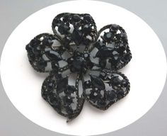Gothic Black Pansy Brooch  Sparkling Rhinestones by thejewelseeker, $36.00