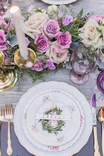 33 Lavender Wedding Decor Ideas You Will Love Wedding Table Centerpieces, Wedding Table Settings, Wedding Decorations, Table Decorations, Decorative Plates, Lavender, Decor Ideas, Wedding Bride, Home Decor