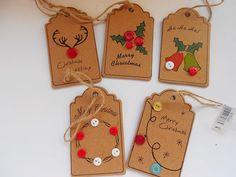 A Set of 5 Handmade Gift Tags perfect for by bobbinsandlacecrafts