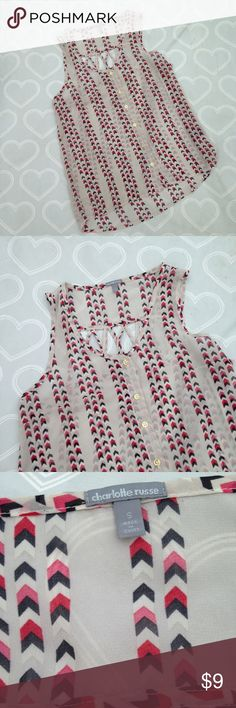 Charlotte Russe top size small Brand- Charlotte Russe EUC only worn once women's sheer top size small- super cute  cut out on the back Charlotte Russe Tops Blouses