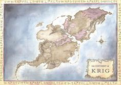 A commission for the writer Aaron Henderson, showing his fantasy world called Krig. His setting is very interesting and inspired me to do something a little unusual (for me, at least) with the colo...
