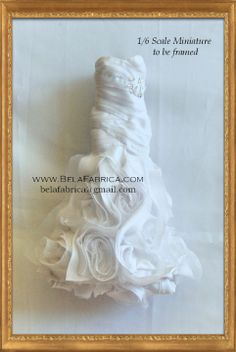 Frame of Wedding Dress Keepsake in Miniature Doll size 1by6 Scale 1 by 12 Scale Barbie Version By BELAFABRICA