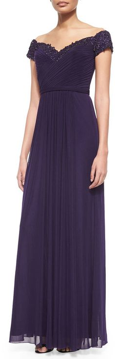 La Femme Beaded-Trim Off-the-Shoulder Flowy Gown