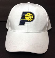 Lucas-Oil SGA Promo INDIANA PACERS HAT White Curved-Bill Adjustable Men/Women #MainGateSGALucasOilPromo #IndianaPacers
