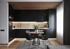 How Black Kitchen Cabinets Can Change A Space For The Better - LED light strips which make the whole setup look bright and fresh. The wood paneling on the ceiling - Kitchen Room Design, Modern Kitchen Design, Living Room Kitchen, Home Decor Kitchen, Interior Design Kitchen, Kitchen Furniture, Furniture Stores, Kitchen Ideas, Farmhouse Style Kitchen