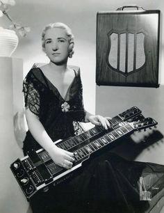 """ Letritia Kandle, electric guitar pioneer with double deck lap guitar "" Guitar Girl, Jazz Guitar, Music Guitar, Playing Guitar, Guitar Room, Pedal Steel Guitar, Guitar Magazine, Slide Guitar, Music Machine"