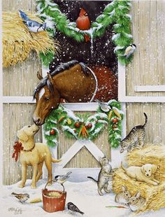 Artist: Kathy Goff .@@@@@.....http://www.pinterest.com/jennifergbrock/vintage-christmas-images-art-illustration-that-evo/