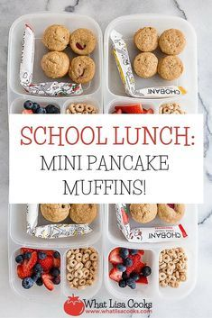 Another easy packed school lunch - today it's breakfast for lunch with mini pancake muffins! These are the best - and… Kids Lunch For School, Healthy School Lunches, Healthy Meals For Kids, Kids Meals, School Snacks, Toddler Meals, Healthy Food, Healthy Eating, Lunch Box Recipes