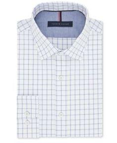Tommy Hilfiger Men's Slim-Fit Non-Iron Blue Frost Check Cotton Dress Shirt - Blue 16.5 32/33