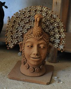 The portrait of a person wearing a headdress in the shape of a turkey. This stunning ceramic artwork was seen at the home and studio of Irma Garcia Blanco from Santa Maria Atzompa, Oaxaca Mexico Pottery Studio, Pottery Art, Pottery Teapots, Pottery Ideas, Ceramic Pottery, Mexican Style, Mexican Folk Art, Latino Art, Cultural Crafts