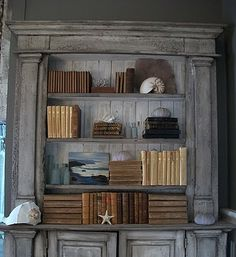 Gray shelves with leather books -- beautiful vignettes ---