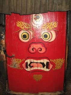 Door to Mahakala Shrine (Dharma protector) Tibet Door Knockers, Door Knobs, Door Handles, Tibet, Portal, Inspiration Artistique, When One Door Closes, Unique Doors, Grand Entrance