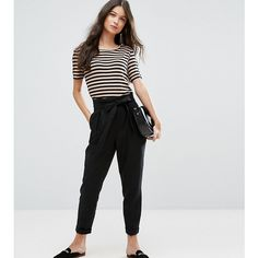 ASOS PETITE Linen Paperbag Waist Pants with Tie (225 SEK) ❤ liked on Polyvore featuring pants, black, petite, high rise pants, high waisted tie pants, high waisted pants, petite linen pants and short pants