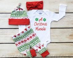 Baby Girls Coming Home Outfit, A Christmas Miracle, Red and Green Leggings,Hat and Headband With Red Cuffs, Baby's First Christmas Outfit