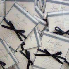 Black Tie Formal Wedding Invitation, Cream Vellum gatefold, Elegant Wedding Invitations, Unique, Romantic, Traditional Wedding Invite, bow