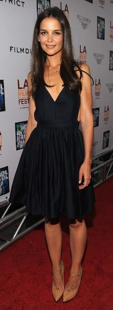 Who made Katie Holmes' black cut out dress, gold necklace and nude pumps that she wore in Los Angeles on June 26, 2011?