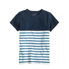 Boys' tee in navy colorblock stripe