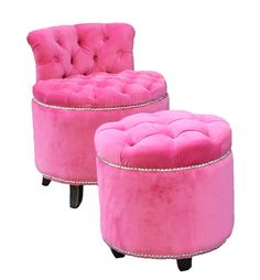 pink tufted chair and stool