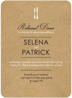 On the Menu - Signature White Rehearsal Dinner Invitations - Petite Alma - Black : Front