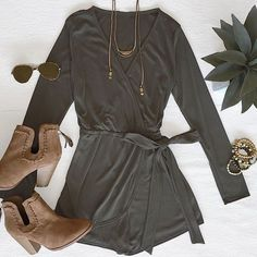 #OOTD 'Wrap It Up Jersey Romper In Olive' paired with our 'Universal Suede Booties In Camel Brown'
