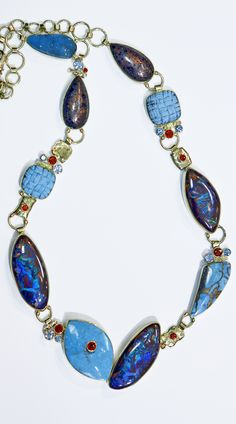 Boulder Opal Necklace with turquoise, orange sapphire, fire brick, chrysocola drusy, and topaz in 22k and 18k gold. Designed by Jennifer Kalled. Boulder opal from Bill Kasso.