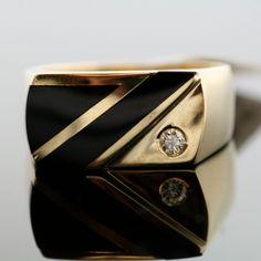 Vintage 14k Yellow Gold Inlaid Black Onyx and Diamond Men's Ring. $1,950.00, via Etsy.