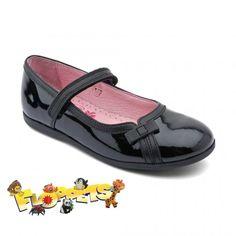 Claudia, Black Patent Girls Riptape School Shoes - Girls - School Shoes