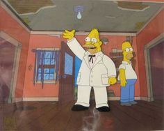 """Original Simpsons cel for sale from classic """"Grandpa vs. Sexual Inadequacy"""" episode"""