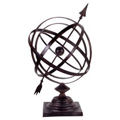 Antique-inspired armillary sphere decor.   Product: Armillary decor   Construction Material: Iron