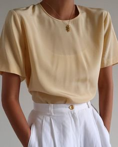 Another look at vintage pale yellow 100% silk short sleeve blouse