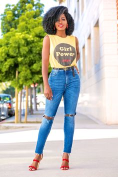 Style Pantry | Girl Power Tee + High Waist Ripped Jeans