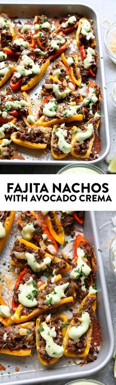 "Ditch the chips for a healthier nacho and use mini bell peppers! These Fajita ""Nachos"" are cute, delicious, and healthy. They're made with mini bell peppers, Laura's Lean Beef 92% lean ground beef, and avocado crema."