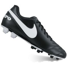Nike Tiempo Rio III Firm-Ground Men's Soccer Cleats ($34) ❤ liked on Polyvore featuring men's fashion, men's shoes, grey, mens shoes, mens gray dress shoes, mens grey shoes, mens lace up shoes and mens lightweight running shoes