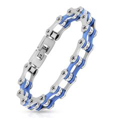 Crystal center on baby blue motorcycle chain