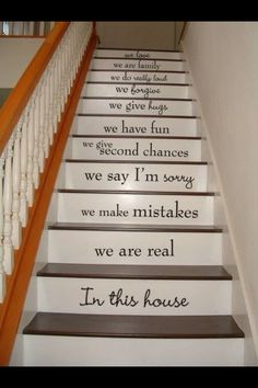 In this house STAIRS stairway Vinyl Decal Vinyl Decal Home Decor Door Wall Lettering Words Quotes Understairs Storage Decal Decor Door home House Lettering Quotes stairs Stairway Vinyl wall Words Staircase Decals, Staircase Design, Book Staircase, Staircase Pictures, Stair Design, Modern Staircase, Stair Quotes, Painted Stairs, Stenciled Stairs
