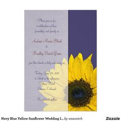 "Navy Blue Yellow Sunflower Wedding Invitation 5"" X 7"" Invitation Card"