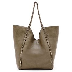 Women's Olive Faux Leather Slouchy Shoulder W/ Chain Detail | Rachelle by Sole Society