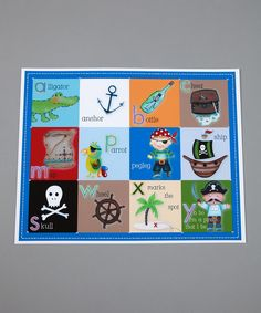 This is a placemat but I would love to use it as inspiration for a pirate alphabet poster for Evan.