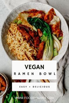 This vegan ramen has all the components of traditional ramen, but each component is prepared vegan style with no compromise on flavor. #ramen #vegan #plantbased #mealplan