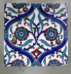 IZNIK CERAMIC TILE with Traditional Kutahya Iznik designs for tabletops hatayis rumis spring blossoms ottoman art silk printed Turkish Tiles, Turkish Art, Portuguese Tiles, Moroccan Tiles, Islamic Tiles, Islamic Art, Ceramic Decor, Ceramic Pottery, Tile Art