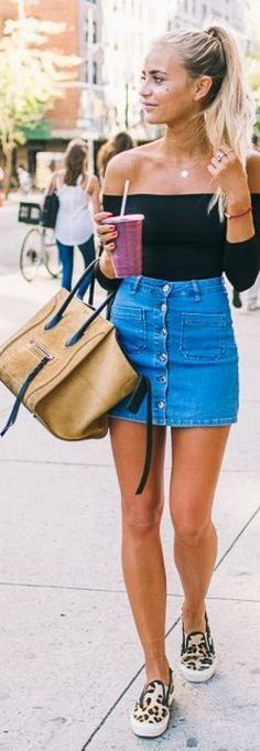 0fcd7e312 Take a look at these cute jean skirt outfits! Outfits With Jean Skirt,  Summer
