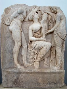 Sebasteion, nymphs with the infant Dionysos.    Aphrodisias Museum.