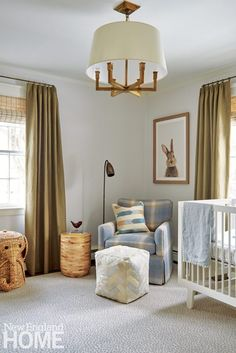 The nursery adheres to the home's neutral theme with rattan shades and a wicker elephant for added texture. Nursery Layout, Nursery Design, Nursery Room, Kids Bedroom, Baby Boy Rooms, Baby Boy Nurseries, Kids Rooms, New England Homes, Nursery Inspiration