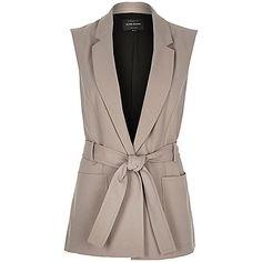Beige sleeveless belted jacket  river-island szary casual