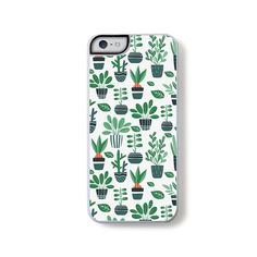 Stylized green cactus succulents potted on white for iPhone 5