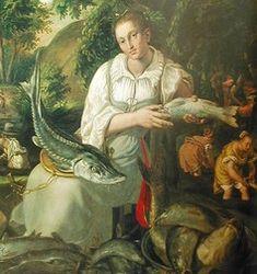 Italian Working class dress, Vicenzo Campi: Fishmonger, 1580
