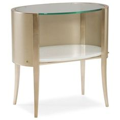 Caracole A Bright Idea - Oval Open Storage Nightstand Muebles Caracole, Caracole Furniture, Hickory Furniture, Parks Furniture, Apartment Furniture, Bedroom Furniture, Home Furniture, Furniture Market, Furniture Storage