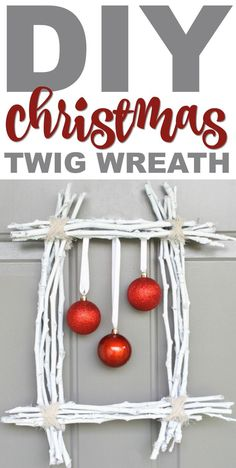 Luckily I found a tutorial for this gorgeous, simplistic, and beautiful DIY Christmas Twig Wreath and had to make it. Easy Christmas Decorations, Christmas Crafts For Kids, Rustic Christmas, Christmas Projects, Simple Christmas, All Things Christmas, Holiday Wreaths, Christmas Ideas, Christmas 2019